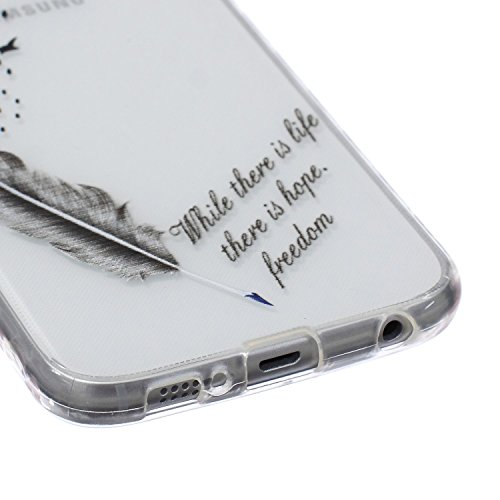 Galaxy S7 Hülle, Galaxy S7 Silikon Hülle Tasche Handyhülle [Kratzfeste, Scratch-Resistant], SainCat TPU Schutzhülle Ultradünn Weich Flexibel Silikonhülle Bumper Case Transparentes Silikon Schutzhülle  Vogelfedern