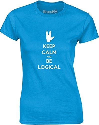 Brand88 - Keep Calm and be Logical, Gedruckt Frauen T-Shirt Türkis/Weiß