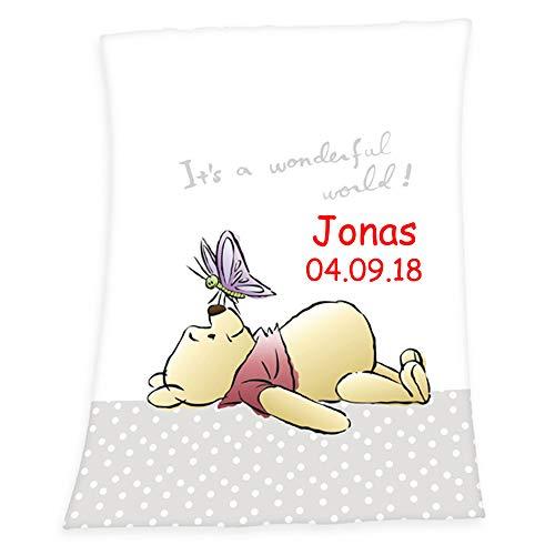 SL-Store GbR Babydecke mit Namen Bestickt Decke 75x100 cm Geschenk zur Taufe zur Geburt Kinderdecke Drache Bär Schmetterling Hase (Winnie Pooh)