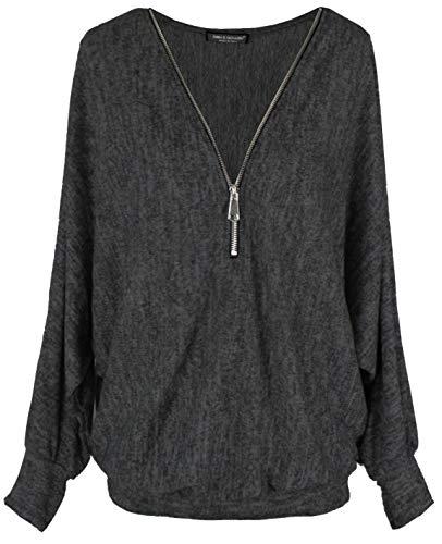 Emma & Giovanni - Pullover-T-Shirt Oversize - Damen (Schwarz, 2XL)