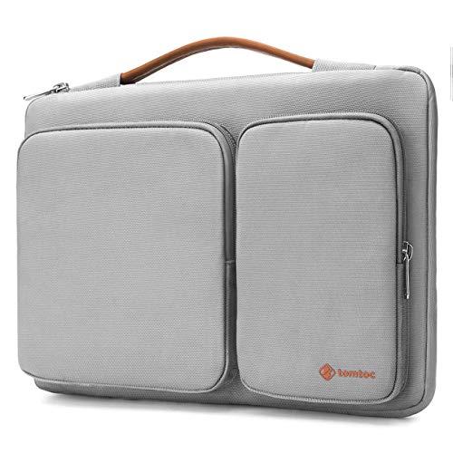 tomtoc Original Borsa per laptop da 14 Pollici Custodia Protettiva a 360° per 15 Pollici MacBook Pro Touch Bar 2018/2017 (A1990/A1707)   Chromebook ThinkPad Acer HP da 35.5 cm, Grigio Chiaro