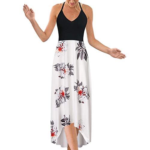 Chejarity Damen Sommerkleider Rückenfreies Schulterfrei Halterneck Maxi Dress Ärmellos Blumendruck Spaghetti Strap Trägerkleid Einfach A-Line Freizeit Strand Party Abendkleider (S, Weiß) -