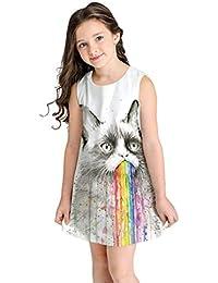 Vestidos para niña,BBestseller Vestido de Fiesta de Princesa cImpresión Digital 3D de Dibujos Animados