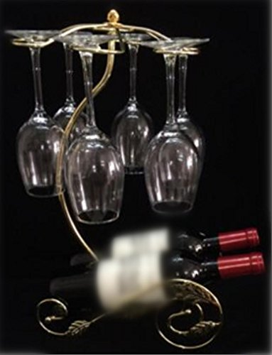 YANFEI Weinregal Behälter-Eisen-Blatt-Form-Wein-Zahnstange Elegante französische Chateau-Art-Anzeigen-Regale Hält 2 Flaschen Ihres LieblingsWeinShape , golden (Französischen Blättern Eisen)