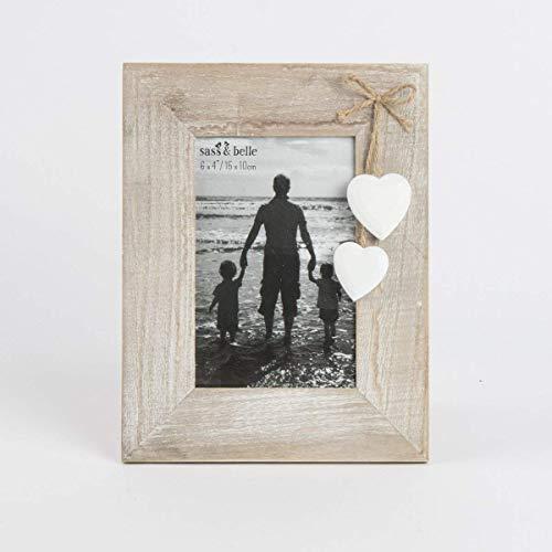 Cornice portafoto in legno naturale con cuori bianchi autoportante, shabby chic