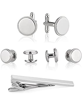 Manschettenknöpfe für Smoking – Weiß und silbernes Metall & Krawattennadel in Geschenkbox