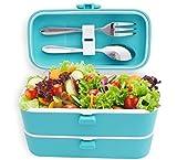 Veggycook Bento Lunchbox Scatola Pranzo 1200ml Due comparti con guarnizioni ermetiche Posate in Acciaio Inox Incluso Lunch Box Ideale per Bambini e Adulti (Blu)