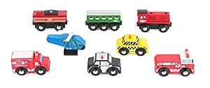 Small Foot 10645 - Juego de 8 vehículos Diferentes de Madera Colorida, Ruedas móviles y alas