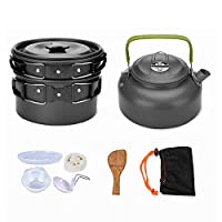 9Pcs Cookware Set Outdoor Camping Cooking Kit Portable Nonstick Lightweight Pans Cook Set with Bag