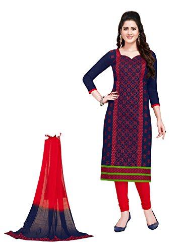 FABFACTTORY's Navy Blue & Red Cotton Embroidery Unstitched Churidar Suit Salwar Suit...