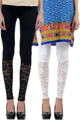 combo pack of two(Designer half net lace black+white)colour ankle length leggings for...