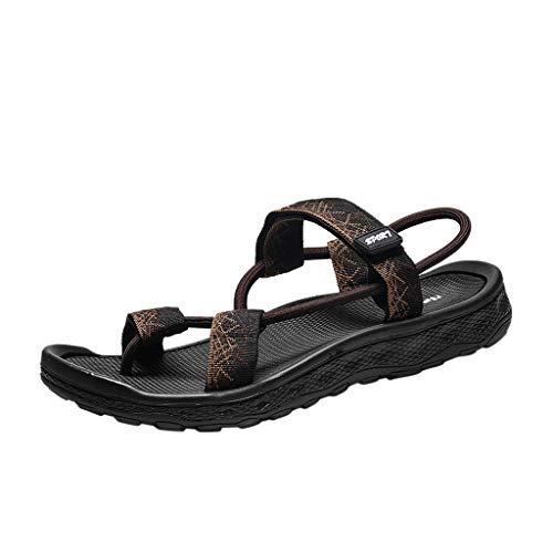POIUDE Männer Sandalen Sommer Lässige Männer Ethnischen Eigenschaften Hohlen Sandalen Faul Strandschuhe(Brown, 44)