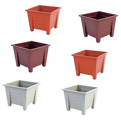 Set von 6quadratischen Pflanzgefäßen in verschiedene Farben, braun, terra cotta, und Esche Farben (sortiert) -