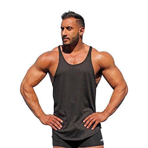 Shirt Herren LHWY Mode Surf Weste Männer Sport Strand Fitness Tank Slim Fit Muscle Ärmellos Sport Jogging Kleidung Rundhals (2XL, Schwarz)