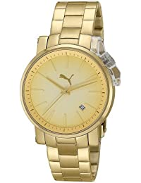 Puma Time Damen-Armbanduhr Flag Metal- S Gold Analog Quarz Edelstahl PU102632005