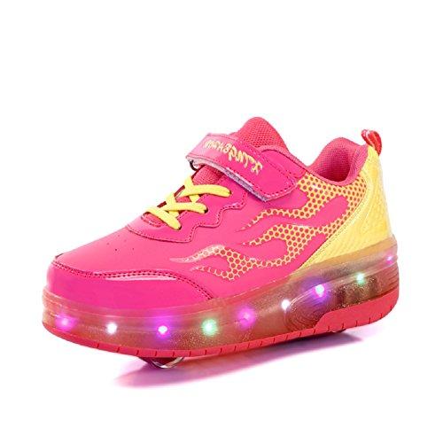 Luckly Grace Kinder Junge Mädchen LED Schuhe mit Rollen Skateboard Rollschuhe Sport Outdoorschuhe Sneaker (35 EU, Rose Rot-2 Rad) (2 Skateboard-schuh)