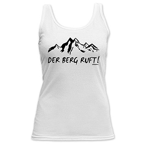 Aprés-Ski Damen TankTop <->          Der Berg ruft!          <->           kleines Präsent zum Skifahren, Goodman Design Weiss Weiß