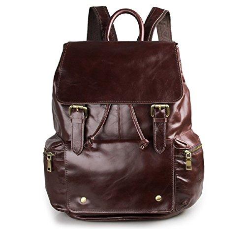 Hermiona Coffee Cowboy Vintage Leather Unisex Bookbag Schoolbag Travel Hiking Backpack