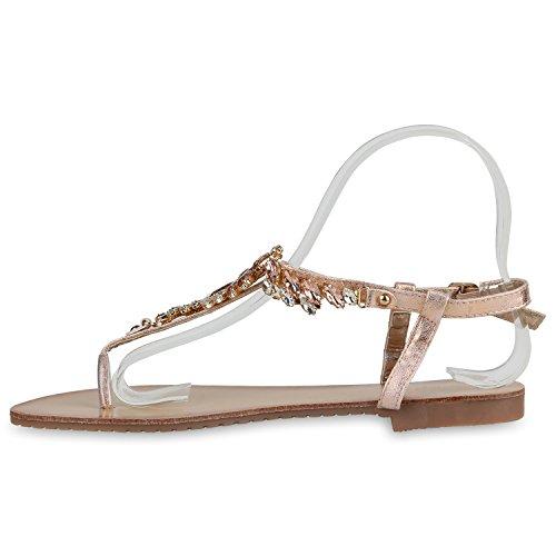 Damen Zehentrenner Metallic Sandalen Lederoptik Schuhe Flats Dianetten Ethno Party Schuhe Abiball Rose Gold Schnalle