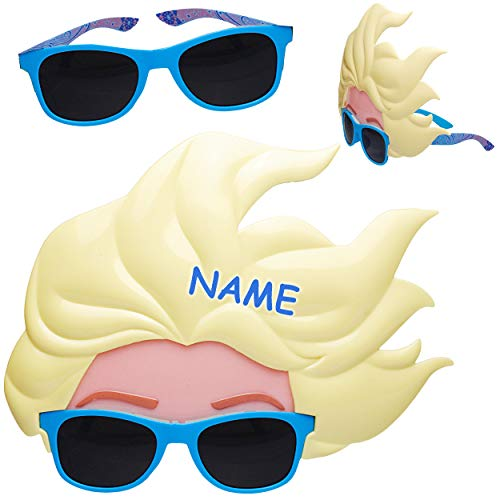 alles-meine.de GmbH 2 Stück _ 3D Effekt - Sonnenbrillen - Disney die Eiskönigin - Frozen - inkl. Name - 3 bis 12 Jahre - 100 % UV Schutz - UV ()