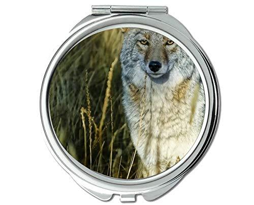 Yanteng Spiegel, Reisespiegel, Animal Wolf Kunst Taschenspiegel, 1 X 2X Vergrößerung -