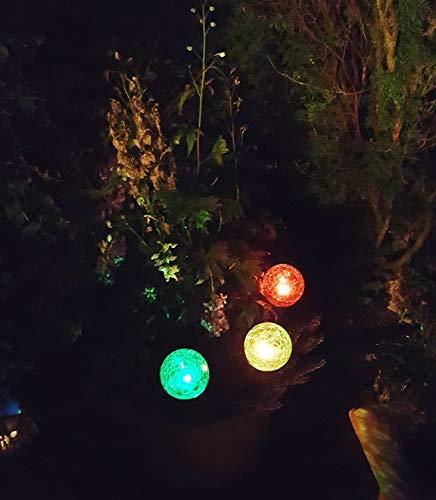 """3 x LED-Solar-Kugelleuchten""""Ena"""" Solar-Glaskugel mit wechselnden Lichtfarben Solarspieß Kugel Crashglas Bruchglas Optik Gartenleuchte Blumentopf Gartenstecker Solarstäbe Solarlampe Dekoration Leuchte"""