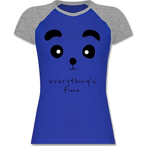 ... T-Shirt für Damen Royalblau/Grau meliert. Shirtracer Eulen, Füchse & Co.  - Panda Everything's Fine - Zweifarbiges Baseballshirt/Raglan