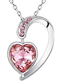 Yellow Chimes Crystals from Swarovski Heart inside Heart Designer Pink Crystal Pendant for Women and Girls