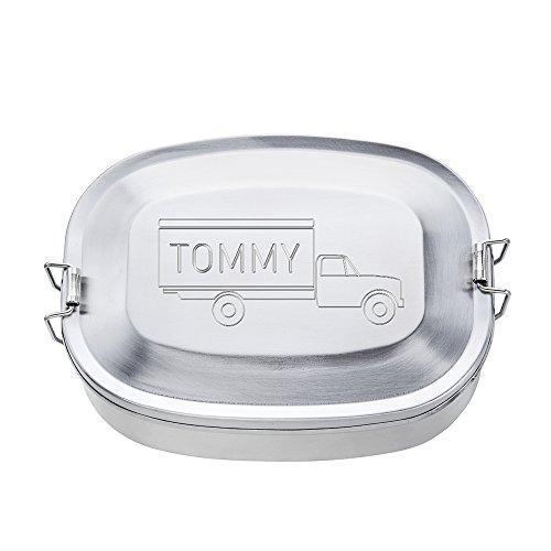 Brotdose aus Edelstahl mit Gravur - Rund – Motiv Lastwagen - Personalisiert mit Namen – Persönliche Lunchbox als Geschenk-Idee zum Schulanfang – Geschenke für Kinder