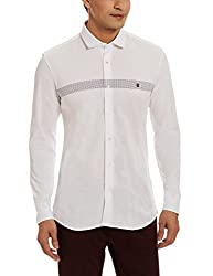 LP Louis Philippe Mens Casual Shirt (8907545686558_LYSF317S05519_42_White and Black)