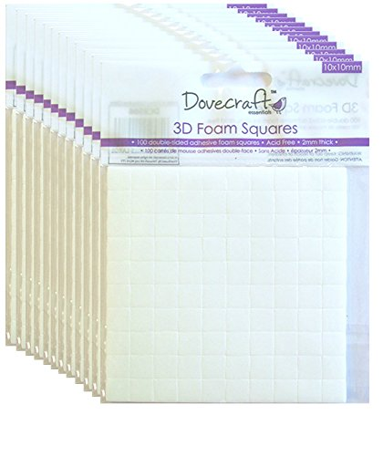 Dovecraft 3D Foam Squares Bundle, 12 X packs 10x10mm pads, double sided adhesive, sticky pads for cardmaking and decoupage