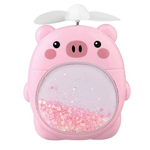 Andouy Tragbar Mini Handfächer Handheld Nachtlicht Fan USB Klein Treibsand Ventilator Geeignet für Kinder Grün/Rosa/Weiß(14X9X5CM.Rosa) (Kleine Hund Kostüme X)