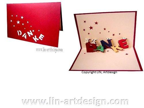 LIN-POP UP Karten Grußkarten Dankeskarten, Danke mit Sternen