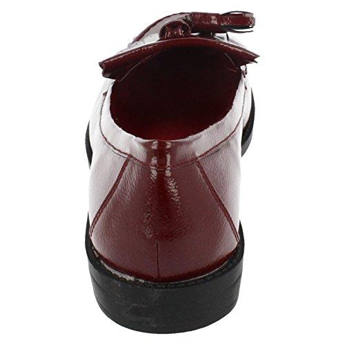 Spot On , Sandales Compensées femme - Burgundy Crinkle Patent