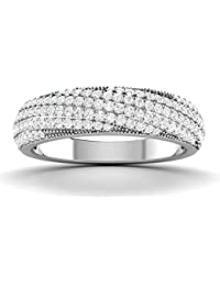 Vijisan 0.92 Ct. White Rhodium Plated 925 Sterling Silver Designer Ring For Women