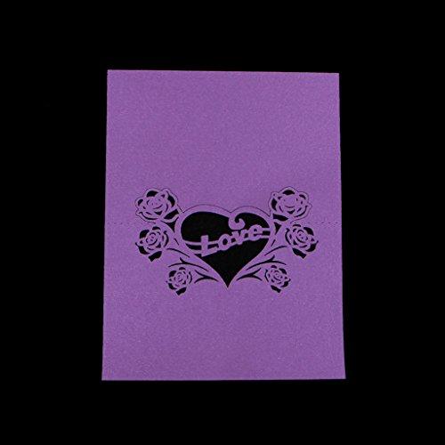 Manyo 50 Stück Tischkarten, Liebe Herzform Dekor, 3 Farben für die Auswahl, ideale Dekoration und Geschenk für Hochzeitstag, Hochzeit, Geburtstage, Party, Festival. (Lila)