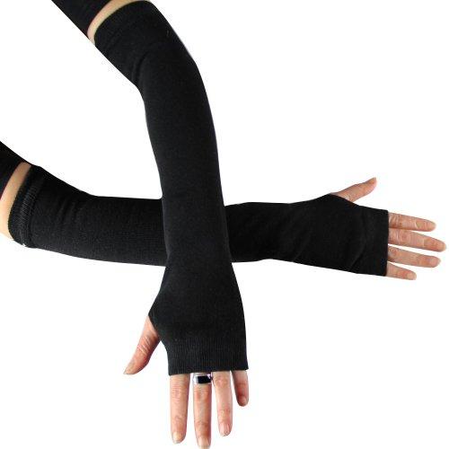 caripe 1 Paar Armstulpen Feinstrick - 11, schwarz (Lange Schwarze Fingerlose Handschuhe)