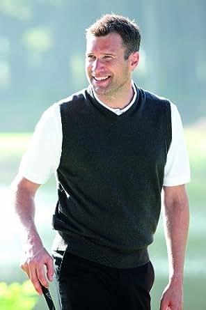 Glenmuir Mens Thornton V Neck Supersoft Cotton Golf Slipover 25% OFF - M - Yellow