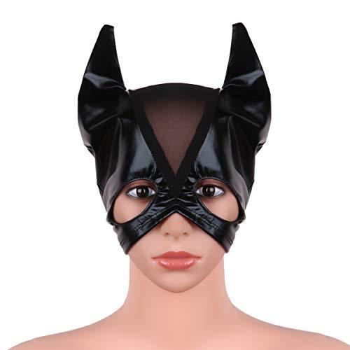dPois Erwachsene Katzen Maske Gesichtsmasken Halbmaske aua Lackleder Cosplay Kostüm Vintage für Masquerade Party Karneval Typ A One Size (Katze Erwachsene Für Maske)