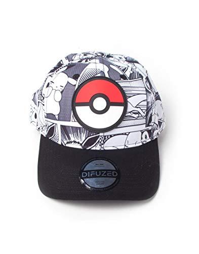 Pokemon Baseball Cap Comic Pokeball Badge Allover Print Nue offiziell Strapback