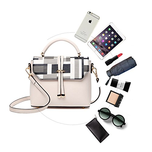 Borsa a bottone di Yoome stampare le borse della borsa della maniglia del manico per le donne sacchetto del sacchetto di trucco della borsa delle signore - bianco Nero