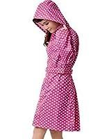 Zicac Damen Regenmantel Leicht Fashion Tupfen Regenjacke Slim Fit Wasserdicht Raincoat mit Punkten
