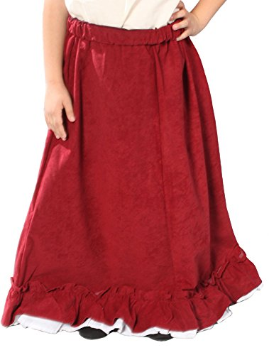 ((Small, Burgundy) - Alexanders Costumes Girls Renaissance Peasant Skirt, Burgundy, Small)