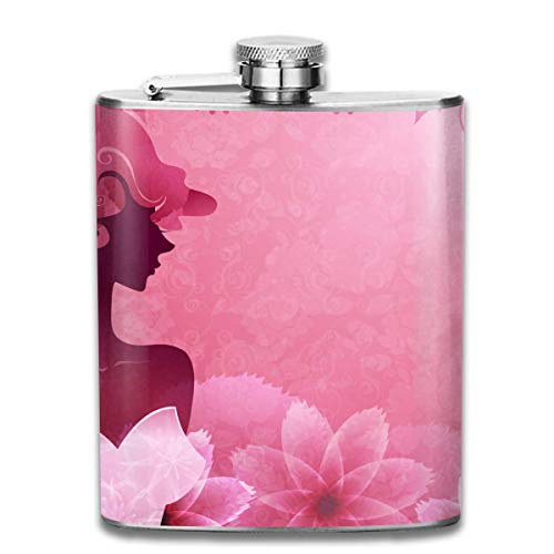 Pink Flowers and Girl Retro Portable 304 Stainless Steel Leak-Proof Alcohol Whiskey Liquor Wine 7OZ Pot Hip Flask Travel Camping Flagon for Man Woman Flask Great Little Gift Little Angels Flower Girl