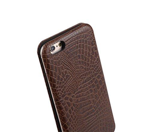 Melkco Slim Shell Type PU étui pour iphone 6 - 4.7 inch (Noir motif crocodile impression) Marron motif crocodile impression