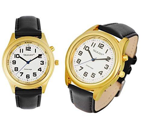 Premium LEDER Herren Sprechende Armbanduhr GOLDENE Uhr Blindenuhr Sprachausgabe Datum Uhrzeit Herrenuhr mit Lederarmband
