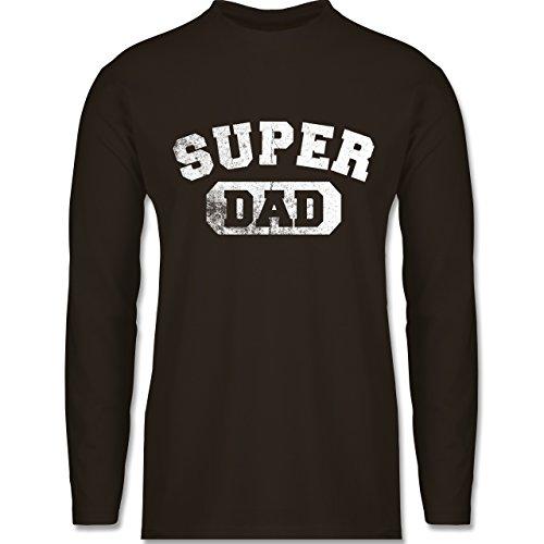 Vatertag - Super Dad - Vintage-&Collegestil - Longsleeve / langärmeliges T-Shirt für Herren Braun