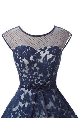 Ivydressing Damen Liebling Rundkragen Spitze Promkleid Lang Ballkleid Abendkleid Tintenblau