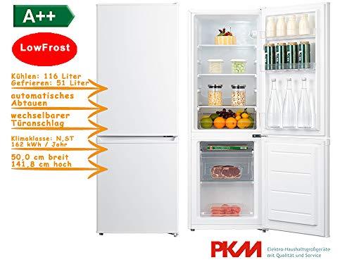 PKM Kühl-Gefrierkombination Low Frost ber A++ 142cm 167 Liter KG222.4A++LF S