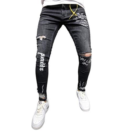 Tomatoa Herren Jeanshose Destroyed Denim Jeans Stretch Jeanshose Slim Fit Hosen Lange Hose Männer Sweathose Freizeit-Hose Jeans Jogginghosen